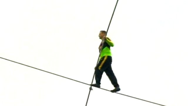 Nik Wallenda on the highwire