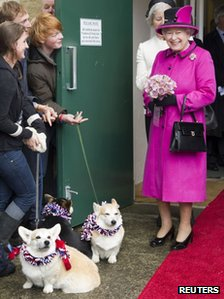 The Queen with her corgis on 1 May 2012