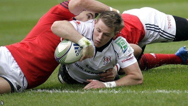 Ulster winger Craig Gilroy scores against Munster