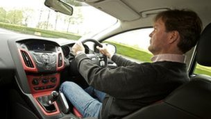 BBC reporter Jorn Madslien drives the Ford Focus with a one litre, three cylinder petrol engine