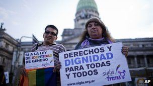 Gender rights campaigners outside Congress in Buenos Aires