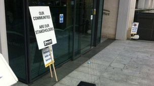 Placard left outside Home Office