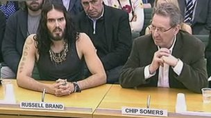 Russell Brand and Chip Somers at Home Affairs Committee