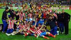 Players and club officials of Atletico Madrid celebrate