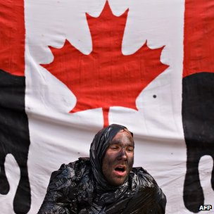 Environmental protester with Canadian flag