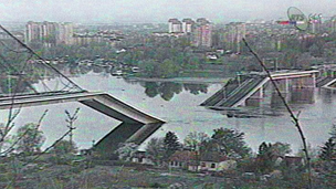 Bombed bridge over the Danube