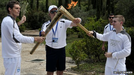 First torchbearer Spyros Gianniotis passes the flame to Alex Loukos