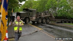 Army vehicle blocks road in Cardiff. Photo: Rayn Gordon