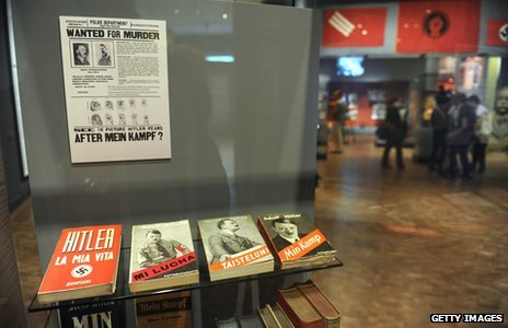Display of various copies of Mein Kampf in different languages