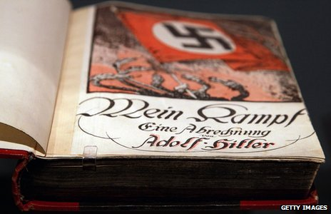 Illustrated flyleaf in copy of Mein Kampf