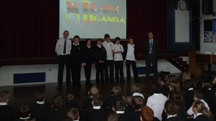 'Team Uganda' during their school assembly