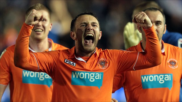 Neal Eardley of Blackpool celebrates