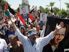 Pro-Assad rally in Damascus on 21 June