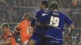 Curtis Davies scores Blues' equaliser against Blackpool
