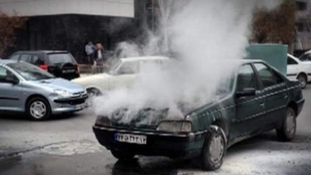 An overheated engine on an Iranian car