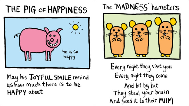 "Popular Edward Monkton cards picturing a pig and the words: ""May his joyful smile remind us how much there is to be happy about"" and Popular Edward Monkton card picturing three hamsters and reading: ""Every night they visit you, every night they come. And bit by bit they steal your brain and feed it to their mum."""