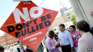 Poster saying 'no don't be bullied', June 2008