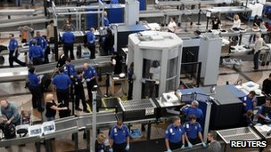 Airport security checks at Denver International Airport on Thanksgiving Day, 24 November 2010