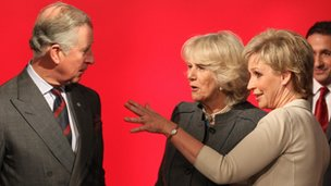 Newsreader Sally Magnusson asked the royal visitors if they wanted to have a go at weather presenting