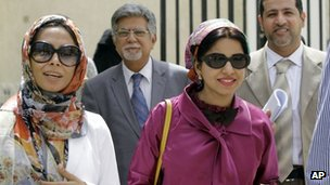 Doctors Fatima Haji (left), Saeed al-Samahiji (second left), Nada Dhaif (third left) and Abdul Khaleq al-Uraibi (right) leave court in Manama (10 May 2012)