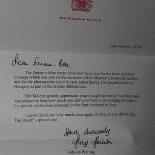 Emma's letter from the Queen