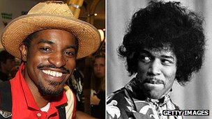 Andre Benjamin in 2008 and Jimi Hendrix in 1967