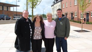 Left to right: Ben Whitehouse, Sharon Thompson, Julie Batting and Mark McCreddin in the village square