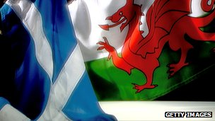 Welsh, Scottish flags