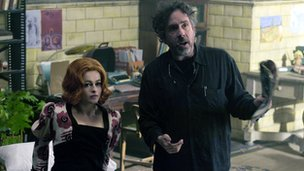 Helena Bonham Carter and Tim Burton on the Dark Shadows set