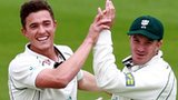 Richard Jones takes a wicket for Worcestershire