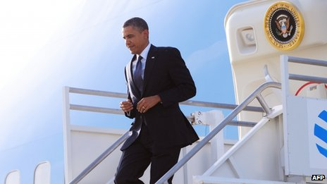 US President Barack Obama steps off Air Force One at Los Angeles International Airport on 10 May 2012