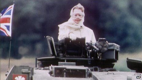 Margaret Thatcher riding a British Army Challenger tank at a Nato base in Germany in 1986
