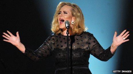 Adele singing at the Grammys