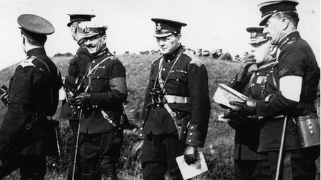 British politician and prime minister Winston Churchill (centre) on British army manoeuvres on Salisbury Plain in 1910