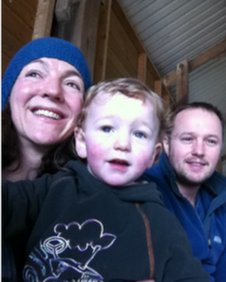 Gill Nowell, Liam Fisher and their son.