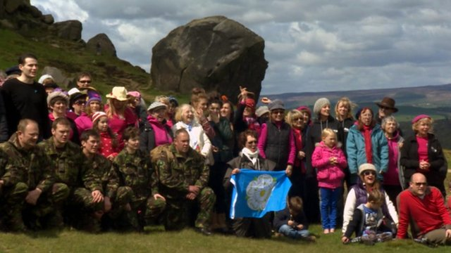 People on Ilkley Moor singing