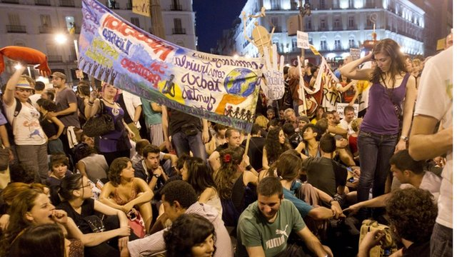Spain&#039;s &quot;Indignants&quot; demonstrate at the Puerta del Sol square in Madrid