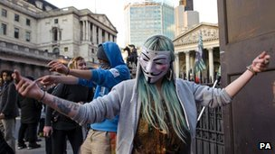Occupy protester near the Bank of England
