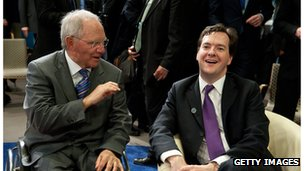 Wolfgang Schaeuble and UK Chancellor of the Exchequer George Osborne