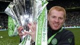 Celtic manager Neil Lennon with the SPL trophy