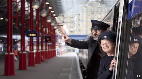 Richard Preddy and Tony Robinson at Marylebone Station