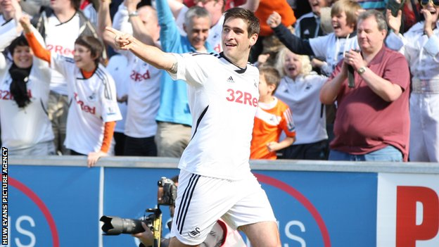Danny Graham celebrates scoring the winning goal against Liverpool