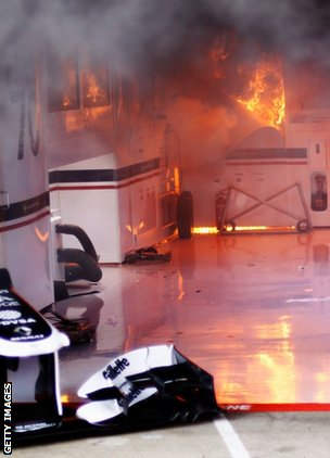 Fire breaks out in the Williams garage