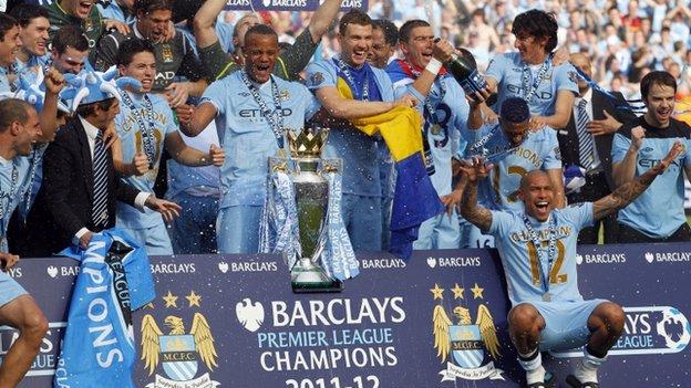 Manchester City celebrate their title triumph