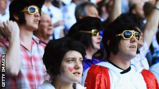 Swansea fans dressed as Elvis