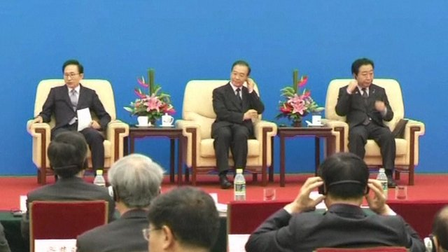 The leaders of South Korea, China and Japan at a summit in Beijing