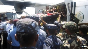 Survivors were air-lifted to hospital in the nearby city of Pokhara