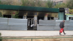 A shop damaged during the riot in Zhanaozen