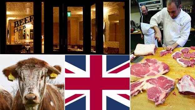 Montage of photographs (clockwise); exterior shot of Le Beef Club, Yves-Marie Le Bourdonnec cutting beef; longhorn cow (Photos: Le Beef Club,Yves-Marie Le Bourdonnec, Thinkstock)