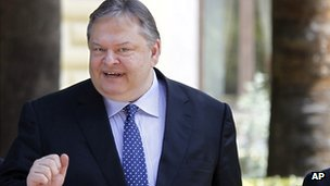 Greek Socialist leader Evangelos Venizelos in Athens on 13 May
